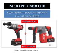 Milwaukee Powerpack ACCU COMBI BOORHAMER M18 CHX + KLOPBOOR M18 FPD +  NRG502