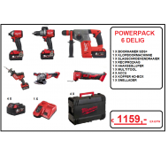 Milwaukee Powerpack  6 Delig combo box M18 FPP6HD 504 met 4 x 5.0 ah accu