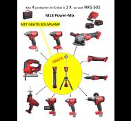 Milwaukee Powerpack M18 SAL 4+NRG502  18volt accu set + LAMP